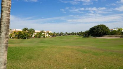 A view of the condominium looking back from the 8th fairway.