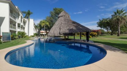 The pool has a big palapa for shade